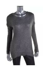 GRACE ELEMENTS New Women's Silver Metallic Boatneck Pullover Top Sweater Sz XS S