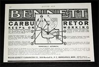 1910 OLD MAGAZINE PRINT AD, BENNETT AUTOMATIC CAR CARBURETORS, KEEPS ON WORKING!