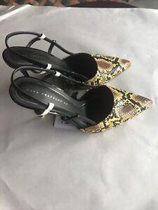 Zara Trafaluc 40 Yellow Animal Print Slingback Heels