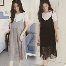 New Womens Chiffon Lace Spaghetti Strap Loose Casual Long Dress With White Top