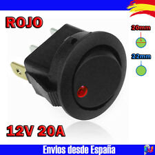 Interruptor LED redondo 22-23mm 12v -20A- con luz - ROJO - Electronica Arduino