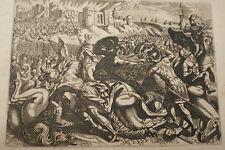 GRAVURE SUR CUIVRE ACHAS ROY IMPIE JUDA-BIBLE 1670 LEMAISTRE DE SACY (B124)