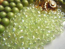 "Grüne japanische Toho-Rocailles-""Dyed-Rainbow Lemon Mist"" -6/0- 10g -3x4mm-"
