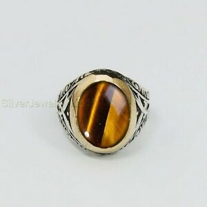 Turkish Handmade 925 Sterling Silver Tiger Eye Men's Ring All Sizes P754