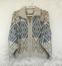 Vintage Men's London Fog Cardigan Sweater Size Xl Blue Beige Pockets Zipper
