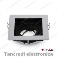 Portafaretto orientabile da incasso V-TAC VT-781 quadrato bianco 100x100x38 mm