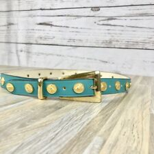 Vintage Teal Gold Lion Accent Belt Medium Made in Italy Retro 80's Style