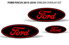 Oval Badge Emblem Logo Overlay Sticker Decals For Ford Focus 2015-2018 Red Black (Fits: Ford Focus)