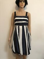 COUNTRY ROAD NAVY/BLACK/BRIGHT IVORY 100% SILK EVENING DRESS Size 12 NEW!