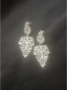 Vintage Style Silver Dangly Intricate Chandelier Earrings. Statement Jewellery