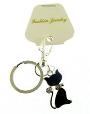 2 x lucky black cat key ring, gift carded and gift organza bag (kn)