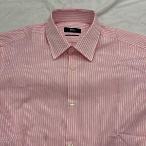 Hugo Boss Dress Shirt Men Size 15 32/33 Pink Stripe Sharp Fit Long Sleeve Cotton