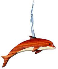Dolphin - Double-sided Wood Intarsia Christmas Tree Ornament - Aquatic Mammal Th