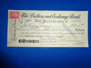 1900 BULLION & EXCHANGE BANK CARSON CITY NEV BANK CHECK W/REVENUE STAMP