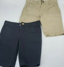 Lot of 2 Old Navy Girls Stretch Uniform Adjustable Waist Shorts Size 8 Black Tan