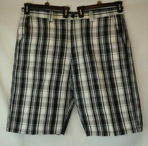 Men's South Pole Casual Shorts - Black & White Plaid - Flat Front - Size 44