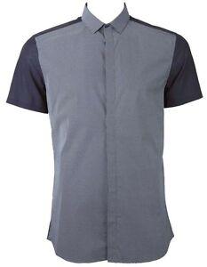 Neil Barrett pokka dot panel slim fit shirt navy