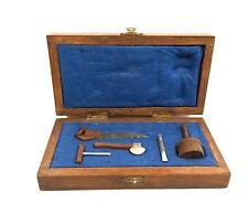 Antique Masonic Initiation Gift / Freemason Interest Wooden Box Miniature Tools