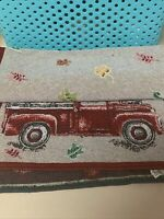 """Perfect Harvest Fall Table Runner Red Truck Pumpkins Apples Leaves (13"""" X 68"""")"""
