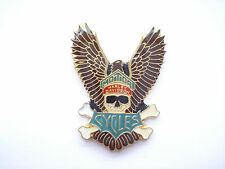 SALE VINTAGE HARLEY DAVIDSON MOTOR CYCLES HOG PIRATE SKULL X BIKE NEW PIN BADGE