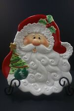 Fitz and Floyd Canape Plate Merry Christmas Santa Face Decorative Plate