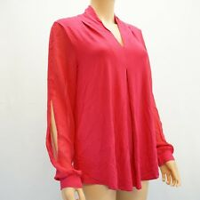Cable & Gauge Womens Top Chiffon Cold Shoulder Sleeve Knit Blouse Pink L $50