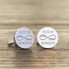 Personnalisé Groom Plaqué Argent M. & Mme Infinity MARIAGE DATE +