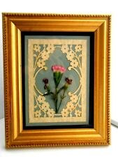 WALL ART Gorgeous gold brush wood framed pressed Pink and white natural Dianthus