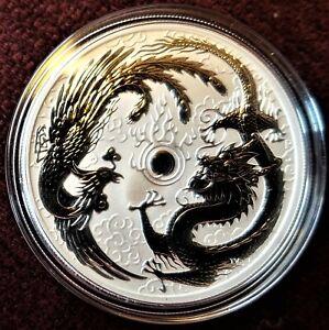 2017 Australia Perth Mint Dragon & Phoenix 1 oz silver $1 Premium Unc Coin