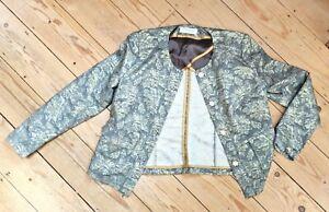 UK16 Gerry Weber green/gold thread fabulous short jacket collarless, pockets