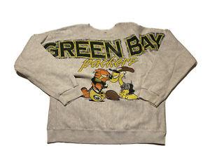 VTG 1994 Green Bay Packers Garfield Sweatshirt Crewneck L/XL 90s NFL Football