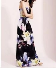 COAST Zuzanna Floral Print Long Maxi Strapless Black Going Out Party Dress Uk 12