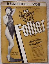 The Greenwich Village Follies of 1934 Beautiful You sheet music semi nude woman