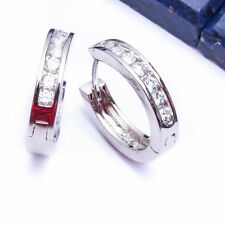 BEAUTIFUL WHITE CZ HUGGIE HOOP .925 Sterling Silver Earring