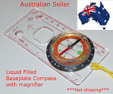 Baseplate Compass with Magnifier, liquid filled - OZ seller *** BONUS LANYARD**