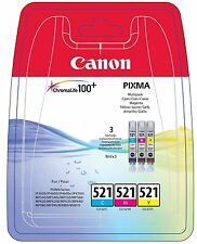 Canon Original CLI-521 Colour Multipack cyan, Magenta, Yellow 3 Ink Cartridges
