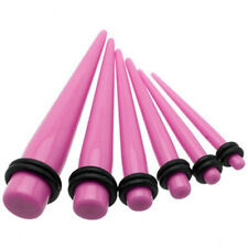 1 Pair Straight Pink Acrylic Tapers Piercings Gauges Ear Plugs Stretchers 12g