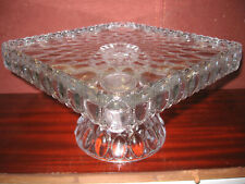 Square crystal clear green Glass cake serving stand plate platter pedestal tray