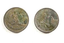 TWO MEXICO 1906 ONE CENTAVO COINS FINE / VERY FINE NARROW & WIDE DATE DETAILS