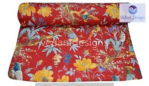 Indian 5 Yard Hand Block Bird Print Cotton Fabric Red Dress Material