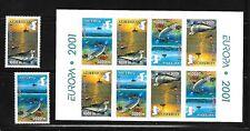 AZERBAIJAN Sc 714-5a NH ISSUE of 2001 - SET+Booklet - Marine Animals - EUROPA