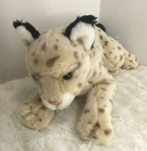 "Animal Alley Spotted Lynx Leopard Bobcat Wild Cat Plush 17"" Laying Tan Toys R Us"