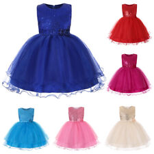 Girls Kids Flower Dresses Sequin Bow Wedding Princess Party Tutu Dress Prom Gown
