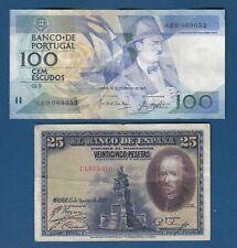 Portugal banknotes 100 Escudos 1987. + 25 Pesetas 1928. Espana banknotes - 2 PCS