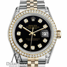 Ladies Rolex Stainless Steel 18K Gold 26mm Datejust Black Diamond Jubilee 2 Tone