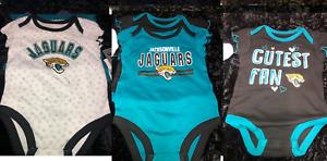 NFL Baby Girl Jacksonville Jaguars 3 Pack Ruffle Sleeve Bodysuit 0-3 M