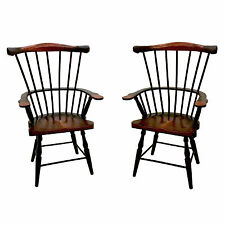 """2 Windsor Style Wood Doll Chair With Arms (for 16-18"""" Doll) BLACK/BROWN 14"""""""
