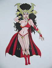 DEJAH THORIS by artist Siriguana - Original ink & color pencil drawing - signed