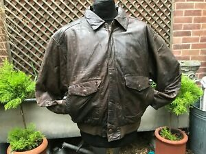 USA Thinsulate  brown leather Flight Flying Bomber jacket size XL