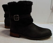 NEW UGG Rustic Leather and Shearling Boots BLAYRE II Black Women's Size 9
